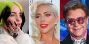 Billie Eilish/Lady Gaga/Elton John. John Locher /Willy Sanjuan/Chris Pizzello / TT NYHETSBYRÅN