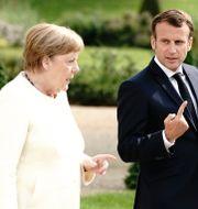 Arkivbild. Tysklands Merkel och Frankrikes Macron. Kay Nietfeld / TT NYHETSBYRÅN