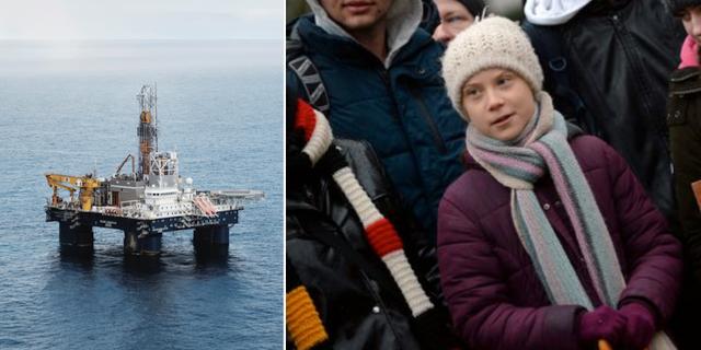Oljeplattform i Barents hav/Greta Thunberg. TT