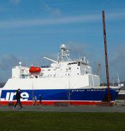 En färja från Stena Line ligger i Belfasts hamn. Arkivbild.  JASON CAIRNDUFF / TT NYHETSBYRÅN