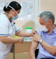 Singapores premiärminister Lee Hsien Loong vaccineras.  TT NYHETSBYRÅN