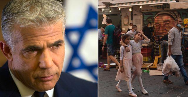 Yair Lapid. Marknad i Jerusalem 4 september. TT