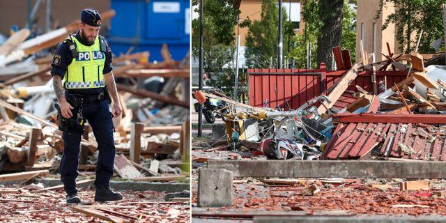 Byggnaden totalförstördes i explosionen.  TT