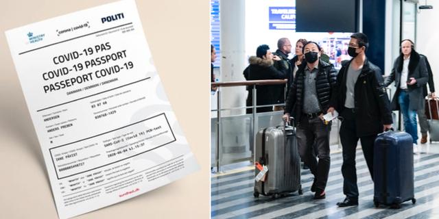 Exempel på ett digitalt coronapass / passagerare på Kastrups flygplats  Danska polisen/ TT