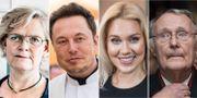 Carola Lemne, Elon Musk, Isabella Löwengrip och Ingvar Kamprad. Arkivbilder.  TT