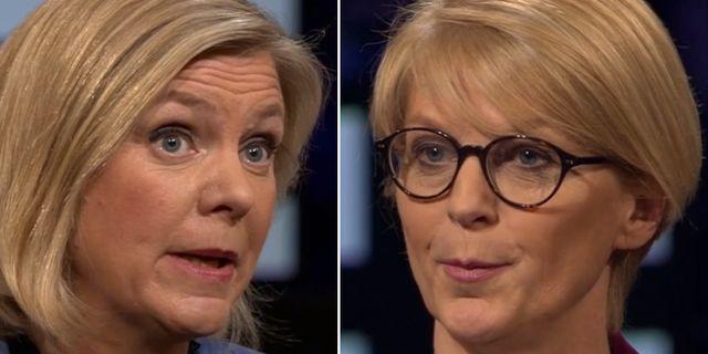Magdalena Andersson/Elisabeth Svantesson. Skärmdump SVT