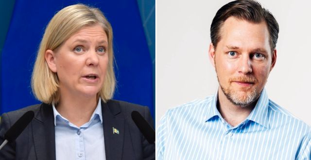 Finansminister Magdalena Andersson, S, och Günther Mårder, vd för Företagarna.