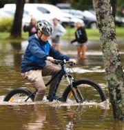 Kraftiga skyfall ledde till översvämningar i Gävle i augusti.  Fredrik Sandberg/TT / TT NYHETSBYRÅN