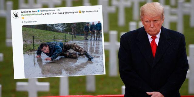 Trump i Paris/arméns tweet. Jacquelyn Martin / TT NYHETSBYR≈N/ NTB Scanpix