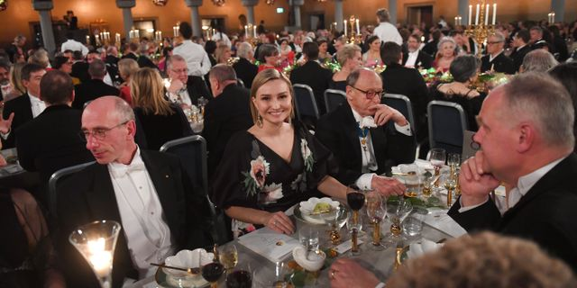 KD-ledaren Ebba Busch Thor på Nobelfesten.  Fredrik Sandberg/TT / TT NYHETSBYRÅN