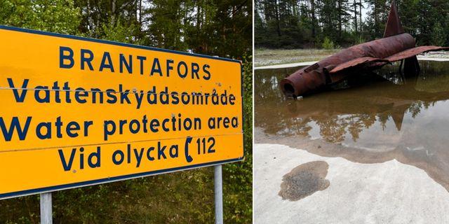 Bilder från Kallinge där vattnet förorenats av brandskum. TT.