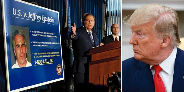 Jeffrey Epstein på affisch/Donald Trump. TT.
