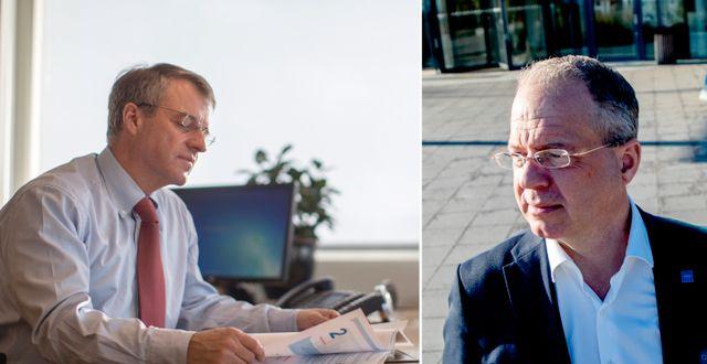 SKF:s vd Alrik Danielson och Volvos Martin Lundstedt som båda undviker prognoser  Björn Larsson Rosvall/TT och Adam Ihse/TT