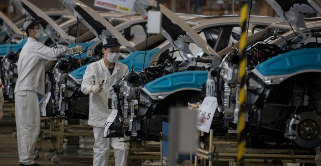 En Honda-fabrik i Hubei-provinsen. Ng Han Guan / TT NYHETSBYRÅN