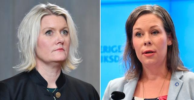 Lena Rådström Baastad och Moderaternas migration- och socialförsäkringspolitisk talesperson Maria Malmer Stenergard. TT