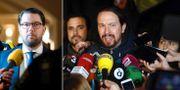 Jimmie Åkesson och spanska Podemos ledare Pablo Iglesias. Sverigedemokraterna ses som ett högerpopulistiskt och Podemos som vänsterpopulistiskt i Guardians kartläggning. TT