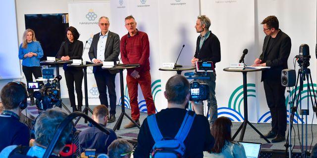 En av Folkhälsomyndighetens pressträffar. Jonas Ekströmer/TT / TT NYHETSBYRÅN