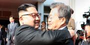 Kim Jong-Un och Moon Jae-In då de möttes i maj.  HANDOUT / Dong-A Ilbo