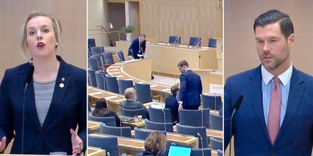 Linda Westerlund Snecker (V), Johan Forssell (M). Riksdagens webbtv.