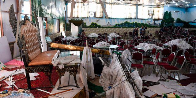 Festsalen där explosionen skedde. WAKIL KOHSAR / AFP