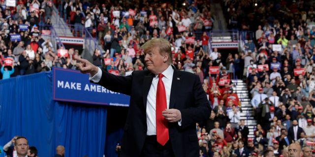 Donald Trump vid ett möte i Green Bay, Wisconsin. YURI GRIPAS / TT NYHETSBYRÅN