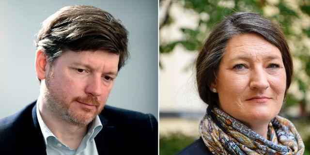 Martin Ådahl, Centerpartiets arbetsmarknadspolitiska talesperson, och LO:s nya föreslagna ordförande Susanna Gideonsson. Janerik Henriksson/TT och Jessica Gow/TT