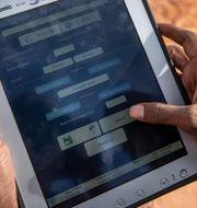 En myndighetsanställd i en öken i Somalia visar upp ett verktyg som kan följa rörelserna från stora gräshoppssvärmar genom gps och satelliter. Februari 2020. Ben Curtis / TT NYHETSBYRÅN
