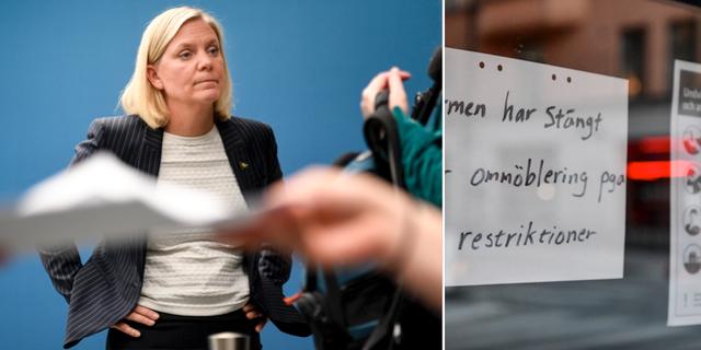 Finansminister Magdalena Andersson (S)/Stängd restaurang. TT