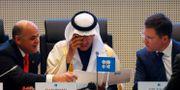 Arkivbild: Från vänster:  Rysslands energiminister Alexander Novak, Saudiarabiens energiminister prins Abdulaziz bin Salman Al-Saud och Venezuelas oljeminister Manuel Quevodo vid ett möte i december i fjol.. Leonhard Foeger / TT NYHETSBYRÅN
