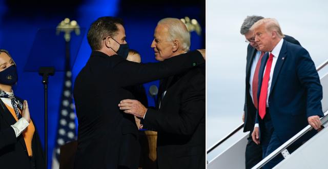 Hunter och Joe Biden kramar om varandra samt Donald Trump och William Barr på väg ut ur ett flygplan.  TT
