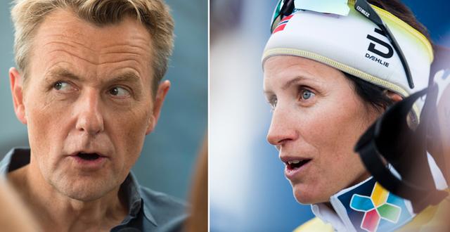 Fredrik Skavlan och Marit Björgen. TT/Bildbyrån