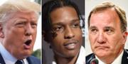 Donald Trump, Asap Rocky och Stefan Löfven. TT