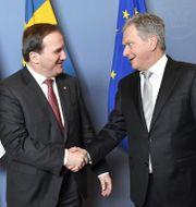 Stefan Löfven och Finlands president Sauli Niinistö. Jonas Ekströmer/TT / TT NYHETSBYRÅN