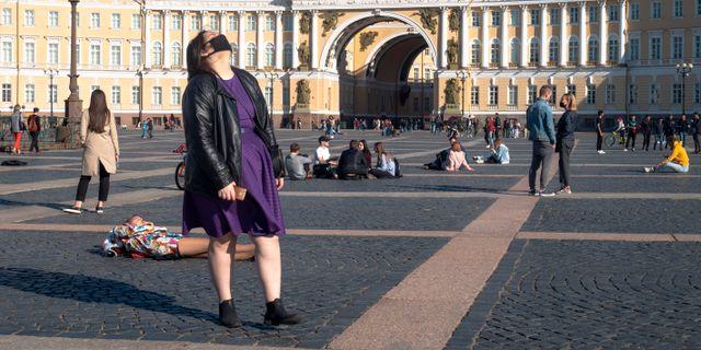 Människor i Moskva förra veckan. Dmitri Lovetsky / TT NYHETSBYRÅN
