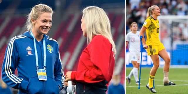 Fridolina Rolfö i samband med gårdagens match mot Ungern/Rolfö skadade under VM i somras. Bildbyrån