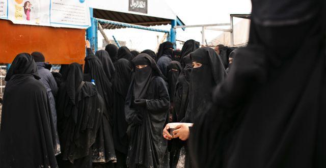 Kvinnor i fånglägret al-Hol i Syrien. Arkivbild. Maya Alleruzzo / TT NYHETSBYRÅN