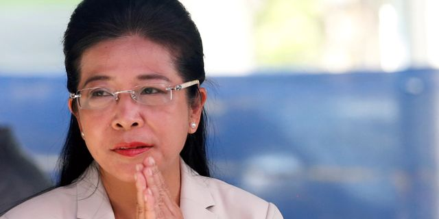 Pheu Thais premiärministerkandidat Sudarat Keyuraphan.  SOE ZEYA TUN / TT NYHETSBYRÅN