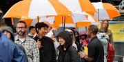 Personer köar för att komma in på Amazons anställningsmässa i Seattle, USA, i september. Elaine Thompson / TT NYHETSBYRÅN