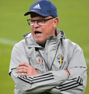 Spaniens Sergio Ramos och Sveriges förbundskapten Janne Andersson.  Bildbyrån/TT