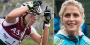 Charlotte Kalla och Therese Johaug i Lysebotn Opp idag. TT