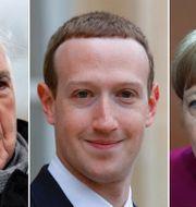 Helmut Kohl, Mark Zuckerberg och Angela Merkel. TT.