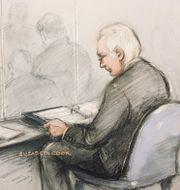 Teckning inifrån den rättsal där domstolsförhandlingarna hölls.  Elizabeth Cook / TT NYHETSBYRÅN