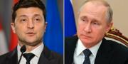 Volodymyr Zelenskyj och Vladimir Putin. TT