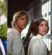 Mark Hamill, Carrie Fisher och  Harrison Ford från Star Wars 1977.  TT