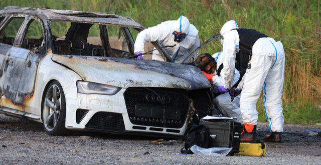 Den utbrunna bild som polisen har hittat. DENNIS GLENNKLEV/TT/TT NYHETSBYRÅN