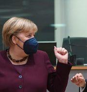 Merkel och Macron under EU-toppmötet. John Thys / TT NYHETSBYRÅN