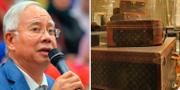 Exledaren Najib Razak samt väskor från lyxmärket Louis Vuitton. TT Nyhetsbyrån