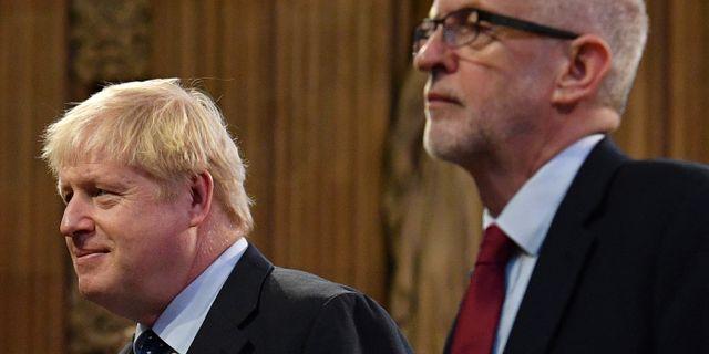 Boris Johnson och Jeremy Corbyn.  Daniel Leal-Olivas / TT NYHETSBYRÅN