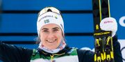 Ebba Andersson firar segern. JOHANNA LUNDBERG / BILDBYRÅN