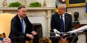 Duda och Trump under ett möte i juni. Evan Vucci / TT NYHETSBYRÅN